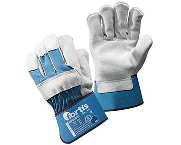 blau-weiße Handschuhe aus Rindspaltleder