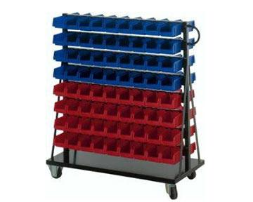 blau-roter Montage-Rollwagen