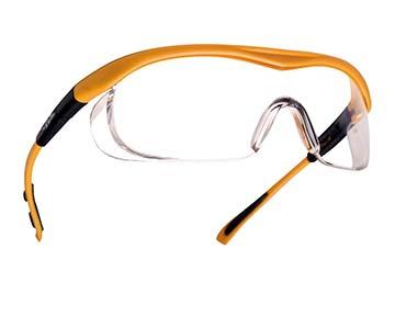 Schutzbrille mit orangenem Rahmen